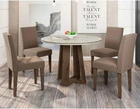 Conjunto de Mesa Isabela com 4 Cadeiras Giovana MDF com Vidro New Ceval