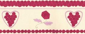 Faixa De Parede Rosas E Coração Tons De Rosa E Bege - Kawayi - Importa...
