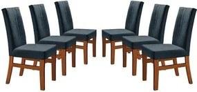 Kit 6 Cadeiras de Jantar Estofada Azul em Veludo Düz