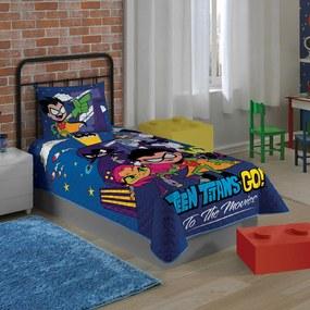 Colcha Matelassê Solteiro Estampada Teen Titans Go 1,50 m x 2,10 m Com 1 peça Lepper Azul