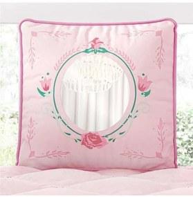 Almofada Rosa Quadrada Espelho Bordada 30cm Grão d