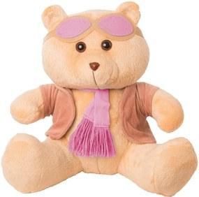 Ursa Soft Gigante Aviadora Casaco Plush Cachecol e Óculos Rosa
