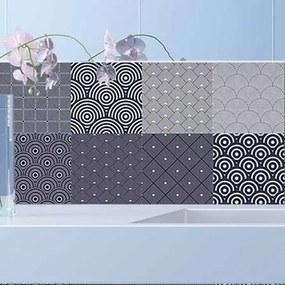 Adesivo Azulejo Geométrico Branco E Preto 285419762