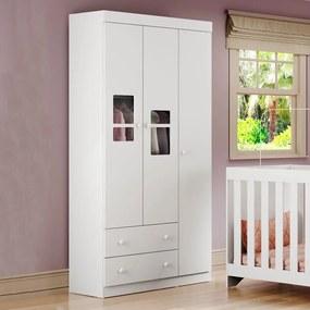 Guarda-roupa de Bebê 3 Portas 2 Gavetas Travessura Plus Branco - Multimóveis