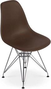 Cadeira Charles Eames Eiffel Base Metal - Marrom
