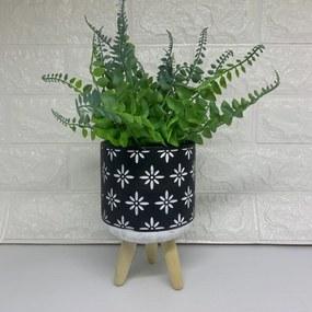 Vaso cimento preto tripé de madeira, com planta