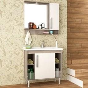 Kit Banheiro Gabinete 80cm Pia e Armário com Espelho Brisa Barrique/Branco - Bosi