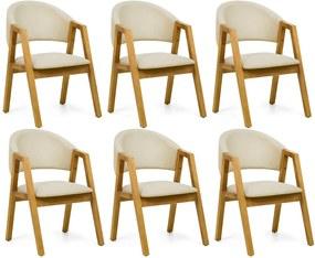 Kit 06 Cadeiras Para Sala de Jantar Cozinha Nik Oregon Linho Rústico Bege - Gran Belo