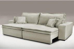 Sofa Retrátil e Reclinável com Molas Cama inBox Premium 3,12m tecido em linho Bege Escuro