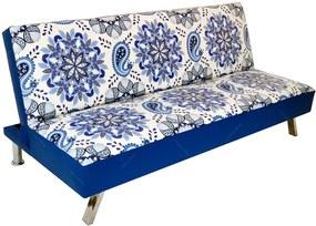 Sofá-Cama Indigo Mandala Azul em Madeira e PVC - Urban - 180x82 cm