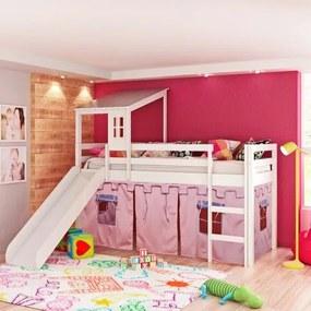 Cama Infantil com Escorregador, Telhado II e Tenda Castelo Rosa  - Casatema