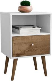 Mesa de Cabeceira MB2014 Branco com Madeira Rústica - Móveis Bechara