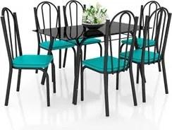 Jogo de Mesa Lótus Tampo de Vidro e 6 Cadeiras 121 Preto/Azul Turquesa