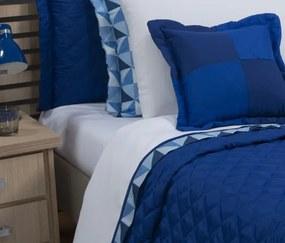Roupa de Cama Solteiro Prime com Vira Kit 03 Peças - Branco / Azul