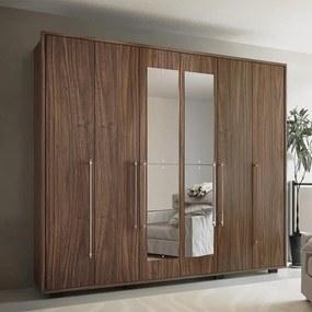 Guarda-roupa Casal 6 Portas Com Espelho Munique Malbec - Colibri Móveis