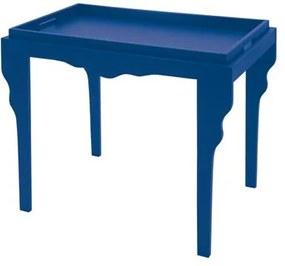 Mesa de Apoio de Madeira Retrô Tramontina 84 x 49 x 71 cm Azul com Bandeja