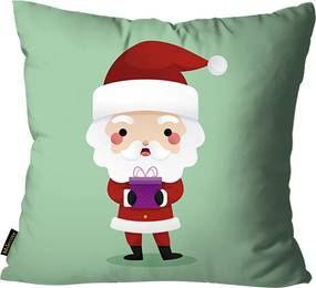 Capa Para Almofada Mdecore Papai Noel Presente Verde45x45cm
