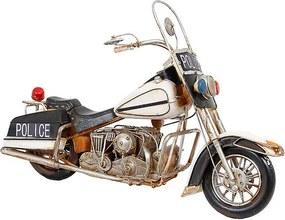 Réplica de Moto Police Grande Tanque Branco