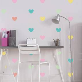 Adesivo de Parede Infantil Coração Colorido Tons Pastéis 55un