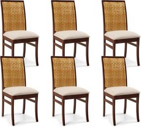 Kit 06 Cadeiras Para Sala de Jantar Cozinha Latina Canela Linho Rústico Bege - Gran Belo