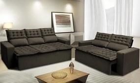 Conjunto De Sofá 3 E 2 Lugares Retrátil E Reclinável Cama Inbox Slim 2,00x1,50m Velusoft Café