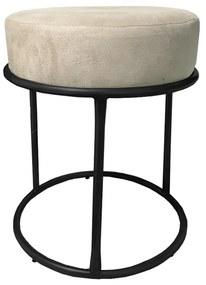 Puff Redondo Decorativo Luxe Base de Aço Preta Suede Bege - Sheep Estofados - Bege