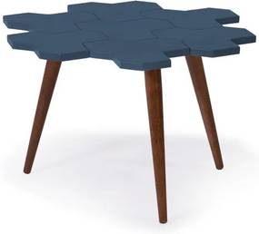 Mesa de Centro Colméia com Tampo Azul Laqueado e Estrutura Madeira Maciça