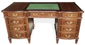 Escrivaninha Inglesa Tampo Couro Natural Madeira Maciça Design Clássico