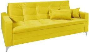 Sofá Cama 3 Lugares Facility Reclinável Veludo Liso Amarelo - Império Estofados