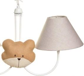 Lustre 2L Simples Com 2 Caras De Urso Bebê Infantil Menino Potinho de Mel Bege
