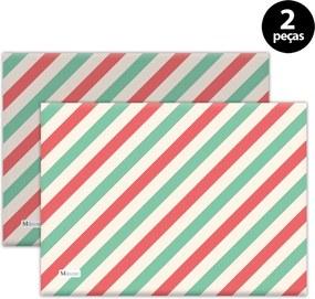 Jogo Americano Mdecore Natal Listras 40x28 cm Verde 2pçs