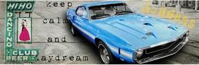 Tela Club Beer and Blue Car Fundo Cinza em MDF - Urban - 140x45 cm