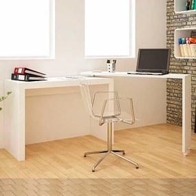 Mesa para Escritório Office Tampo Giratório 120cm Branco