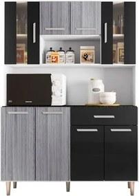 Kit Cozinha Compacta Gabi 8 Portas Branco/Cinza/Preto - Poliman
