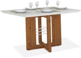 Mesa Creta sala de jantar 6 lugares c/ tampo chanfrado e vidro, Padrao - Rústico Terrara/Vidro Off White
