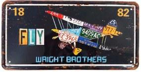 Placa De Carro Decorativa Em Alto Relevo Fly Wright Brothers