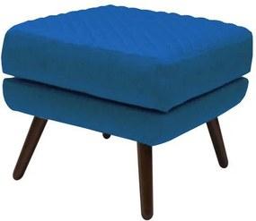 Puff Mary Pés Palito Veludo Azul - Gran Belo