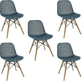 Kit 5 Cadeiras Decorativas Sala e Cozinha Haney (PP) Verde Petróleo - Gran Belo