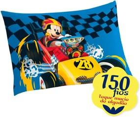 Fronha Avulsa Estampada Mickey Aventura Sobre Rodas 50 cm x 70 cm Com 1 peça Lepper Azul