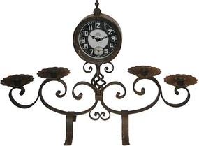 Relógio com Castiçal em Ferro Brown