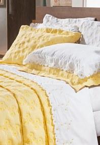 Cobre Leito Bernadete Casa Bernadete Bordado King Size 3 Peças Nuance - Amarelo