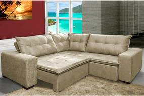 Sofa De Canto Retrátil E Reclinável Com Molas Cama Inbox Oklahoma 2,20m X 2,20m Suede Velusoft Bege