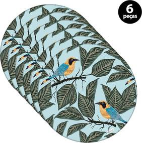 Capa para Sousplat Mdecore Pássaros Azul 6pçs
