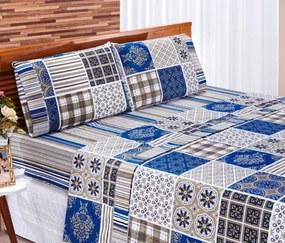Roupa de Cama Casal Padrão Requinte 180 Fios 04 Peças - Azul