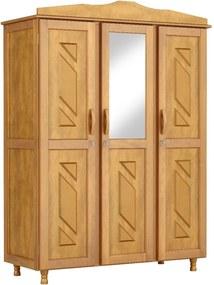 Roupeiro Brasil - 3 Portas - 3 Gavetas Internas - Espelho Central