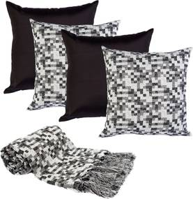 Manta decor p/sofá 2,5x1,4m e 4capas almofada pixelk165