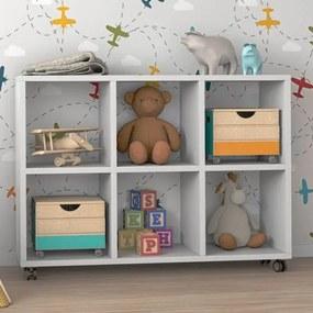 Organizador para Quarto Infantil Charm II 6 Nichos Branco - Casatema