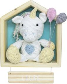 Porta Maternidade Casinha Unicórnio Crochê Quarto Bebê Infantil Menina Azul Potinho de Mel