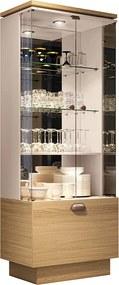 Cristaleira Decorativa com Nicho Adega Embutido Peggy Off White / Freijó - Gran Belo