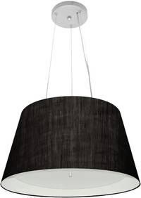 Lustre Pendente Cone Md-4119 Cúpula Forrada em Tecido 21/40x30cm Preto / Branco - Bivolt